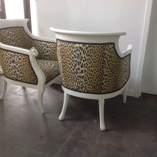 Leopard Print Italian Chairs - A Pair For Sale - Image 4 of 8