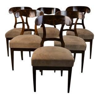 Set of 6 Mahogany Biedermeier Chairs, 19th Century For Sale