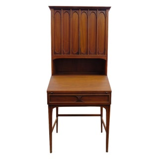 Mid-Century Modern Walnut Drop Front Secretary Desk With Bookshelf For Sale