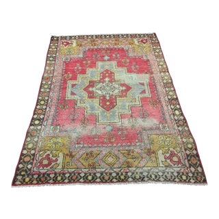 "Vintage Turkish Anatolian Area Rug - 3'10""x5'9"""