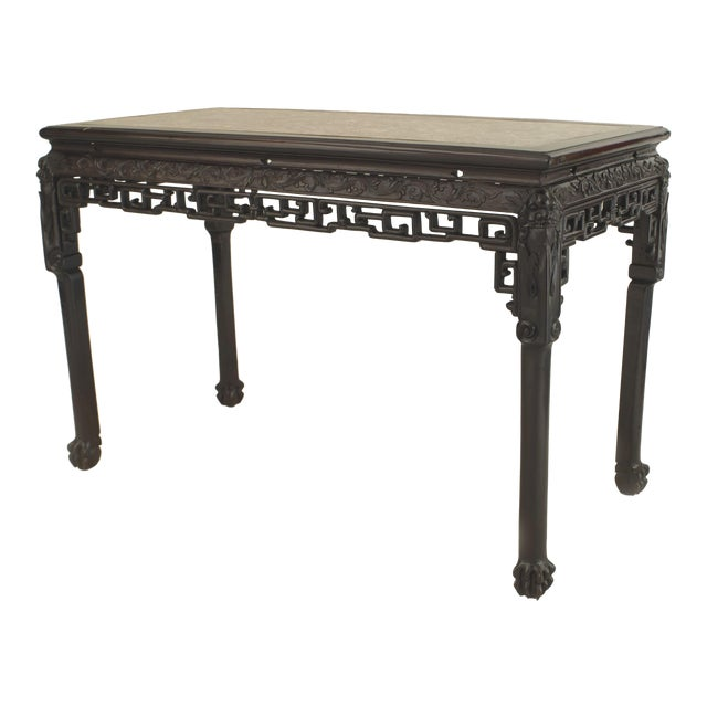 Asian Chinese Style Rosewood Rectangular Center Table For Sale