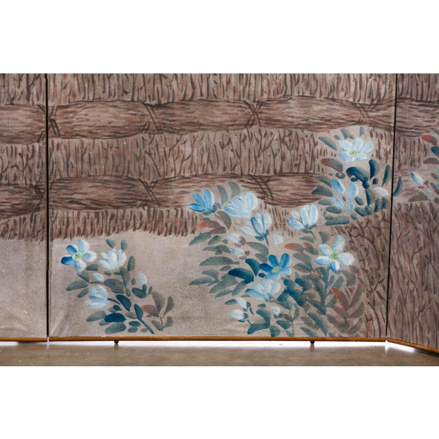 """Gray Sung Tze-Chin Large Chinoiserie Hanging Screen Ink on Paper """"Brushed Wood Fence With Chrysanthemum"""" 11 Feet Wide by 6 Feet Height For Sale - Image 8 of 11"""