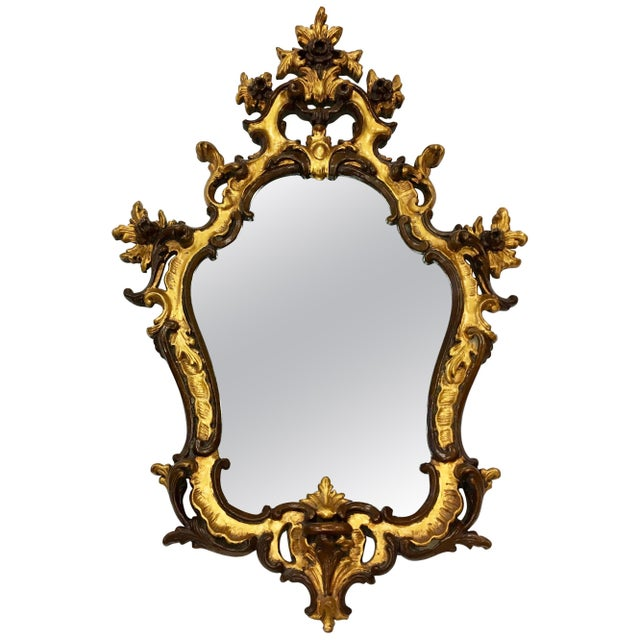 Rococo Style Ornate Carved Giltwood Shield Wall Mirror For Sale - Image 13 of 13
