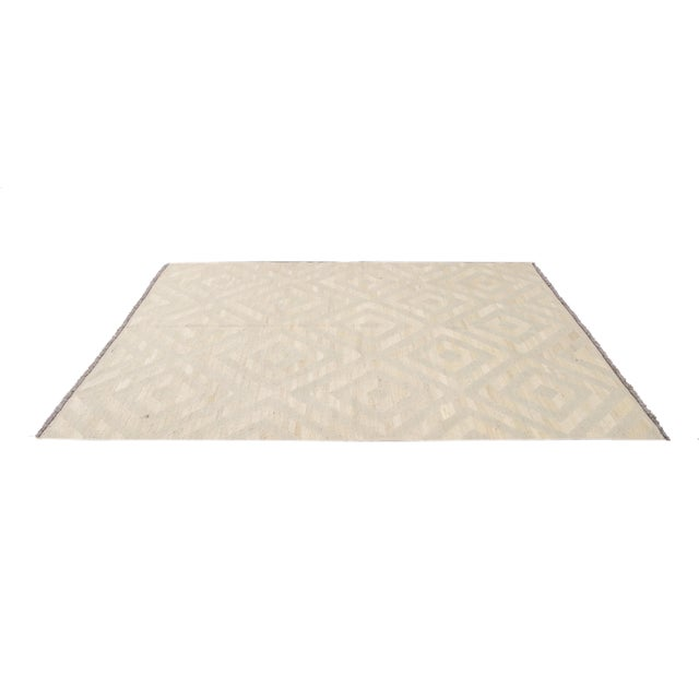 21st Century Contemporary Turkish Kilim Wool Rug For Sale - Image 9 of 12