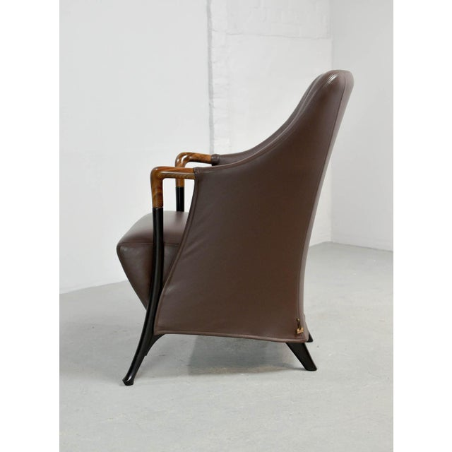 Mid-Century Modern Italian Design Seal Brown Leather Lounge Chair 'Progetti' by Giorgetti, 1980s For Sale - Image 6 of 13