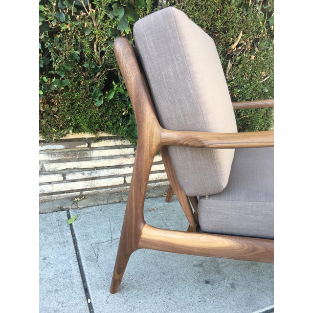 Danish Modern Custom Walnut Lounge Chair in Soft Taupe Gray For Sale - Image 3 of 13