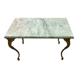 French Louis XV Style Petite Cast Brass Table With Verde Antico Marble Top For Sale