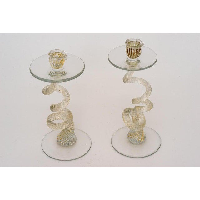 Vintage Yellow Murano Candle Holders - a Pair For Sale - Image 9 of 13