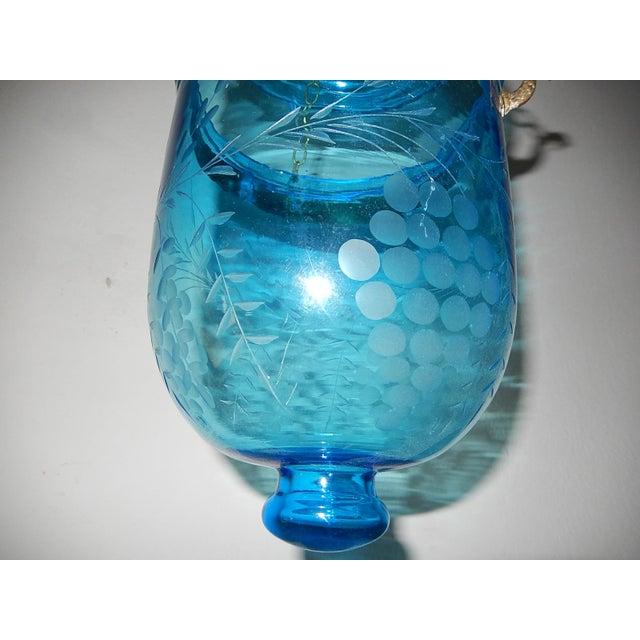 English Cobalt Blue Bell Jar Lantern Chandelier For Sale - Image 4 of 13