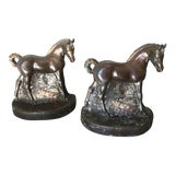 Image of Antique Bronze Horse Bookends - a Pair For Sale