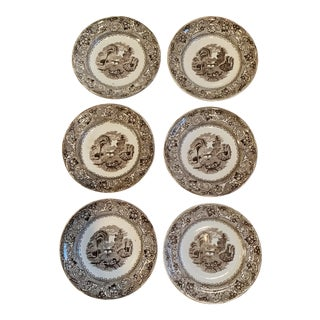 Antique Brown Transferware Plates - Set of 6 For Sale