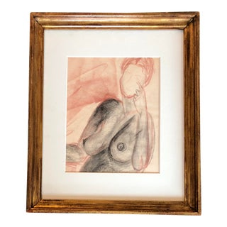 Vintage Original Female Nude Charcoal Study Drawing With Sepia For Sale