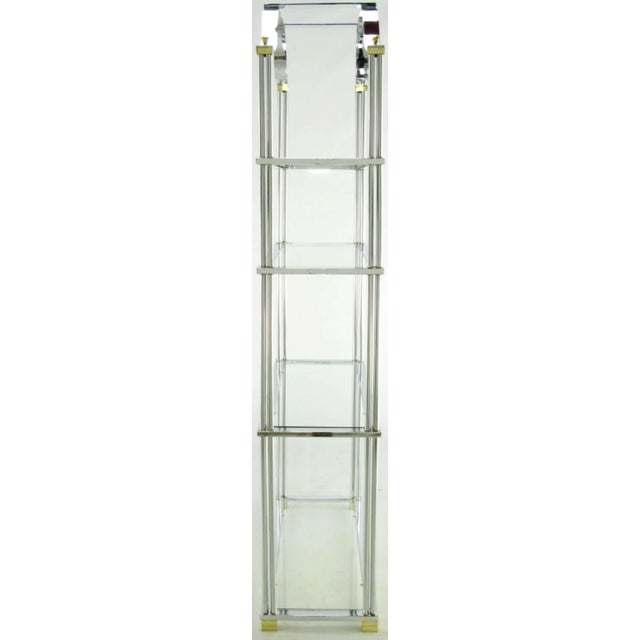 Art Deco Chrome And Brass Canopied Four-Shelf Etagere For Sale - Image 3 of 8