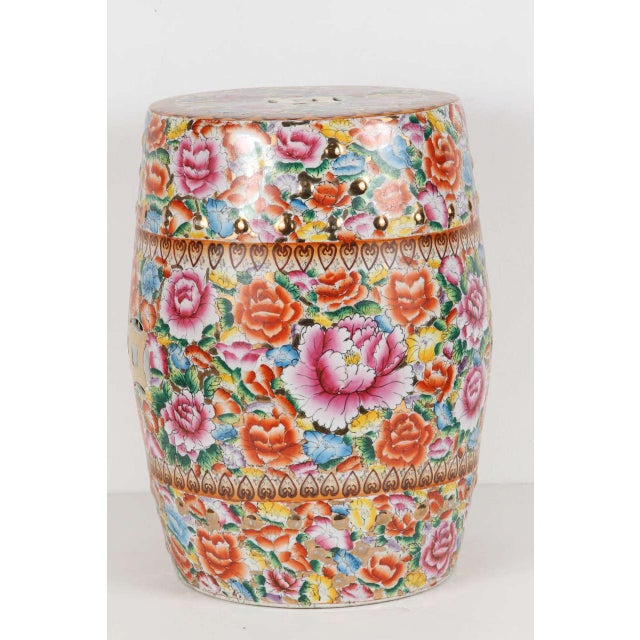 Ceramic Chinese Pink Ceramic Garden Seat With Lucky Coins For Sale - Image 7 of 8