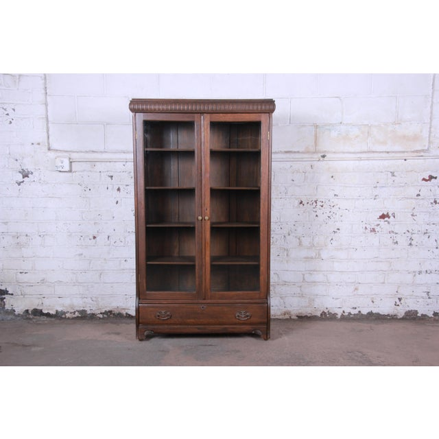 Antique Carved Oak Glass Front Locking Bookcase For Sale - Image 13 of 13