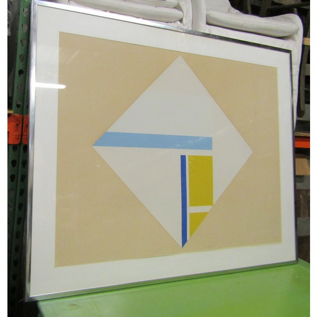 Abstract 1960s Vintage Original Abstract Signed Serigraph Print For Sale - Image 3 of 7