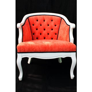 Late 20th Century Coral French Provincial Barrel Chair For Sale