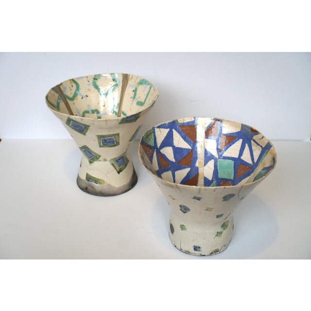 Rustic Patterned Pottery Vases - A Pair - Image 7 of 8
