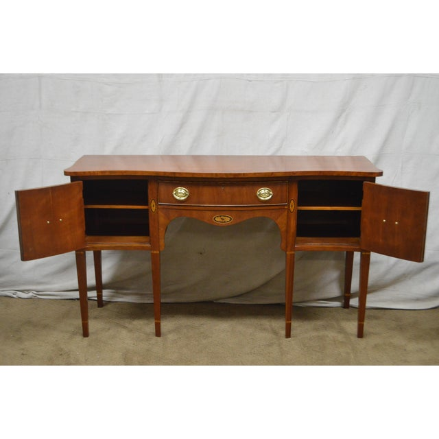 Statton Cherry Federal Style Serpentine Inlaid Sideboard For Sale - Image 4 of 13