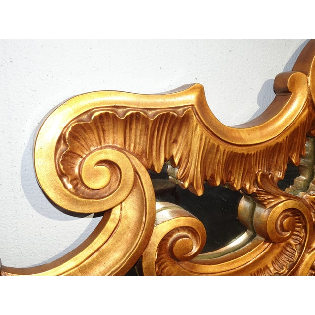 Vintage French Provincial Louis XVI Rococo Gold King Headboard Mirror & Scrolls For Sale - Image 9 of 13