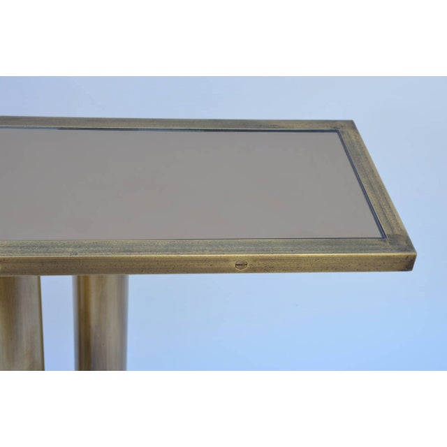 """Brass Contemporary """"Calandre"""" Narrow Brass Mirrored Console For Sale - Image 7 of 9"""
