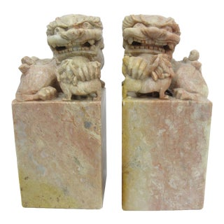 Chinese Soapstone Guardian Lions or Foo Dog Figures - a Pair For Sale