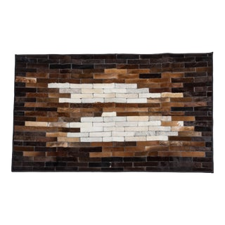 """Luxury Crafted Mosaic Cowhide Patchwork Area Rug, Crafted in Europe, 3'7""""x6'0"""" For Sale"""