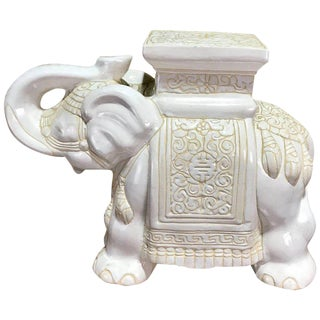 Midcentury Porcelain Standing Elephant Garden Seat in White and Yellow