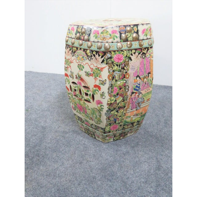 Rose Medallion Garden Stool For Sale - Image 4 of 5