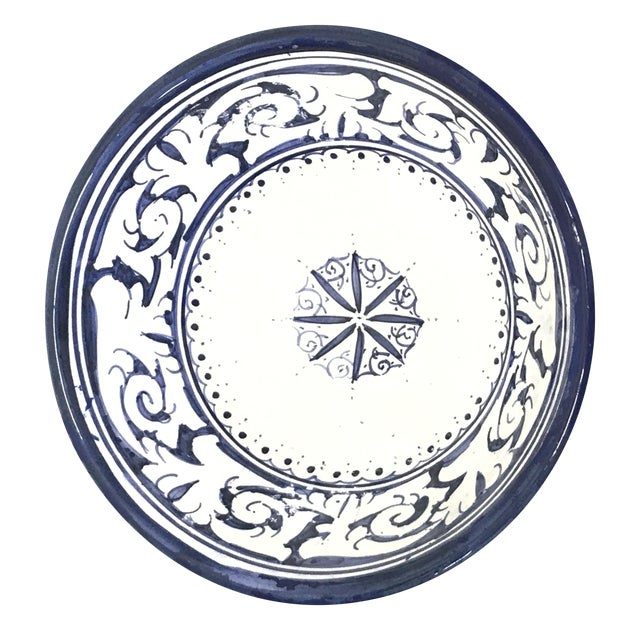 Moroccan Hand-Painted Blue Floral Bowl For Sale