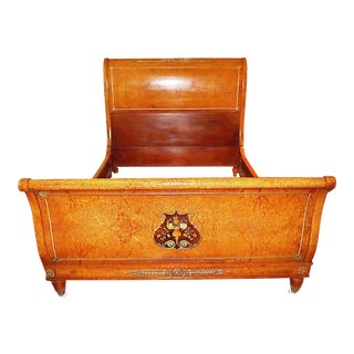 Antique French Queen Sleigh Bedframe For Sale