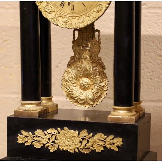 19th Century French Empire Portico Mantel Clock in Original Glass Dome For Sale - Image 4 of 12