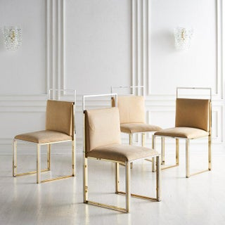 Set of 4 Brass and Chrome Dining Chairs by Cittone Oggi Preview