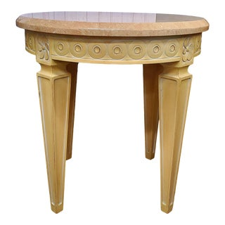 Round Carved Wood Side Table With Marble Top For Sale