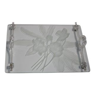 1940s Etched Glass Anemone Flower Vanity Tray With Decorative Lucite Faux-Handles For Sale