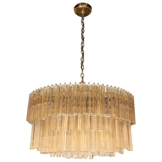 Camer Mid-Century Modern Translucent Glass Oval Chandelier With Brass Fittings For Sale