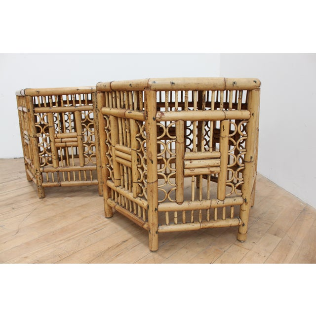 1970s Chinese Chippendale Hexagonal Side Tables- Brighton Pavilion Pair For Sale - Image 5 of 10