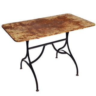 Late 19th Century Yellow Garden Table With Natural Patina on Iron Trestle Base For Sale