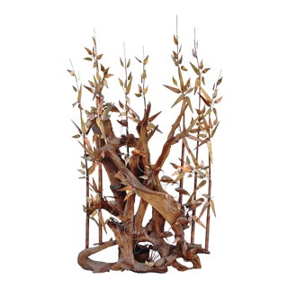 Unique Brutalist Copper Bamboo Groove Sculpture on Driftwood Water Fountain For Sale