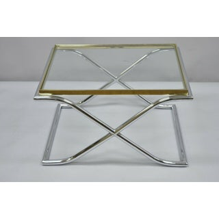1970s Hollywood Regency Chrome Brass and Glass X-Frame Small Coffee/Side Table Preview