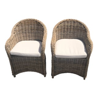 Furniture Classics Rattan Arm Chairs - A Pair For Sale