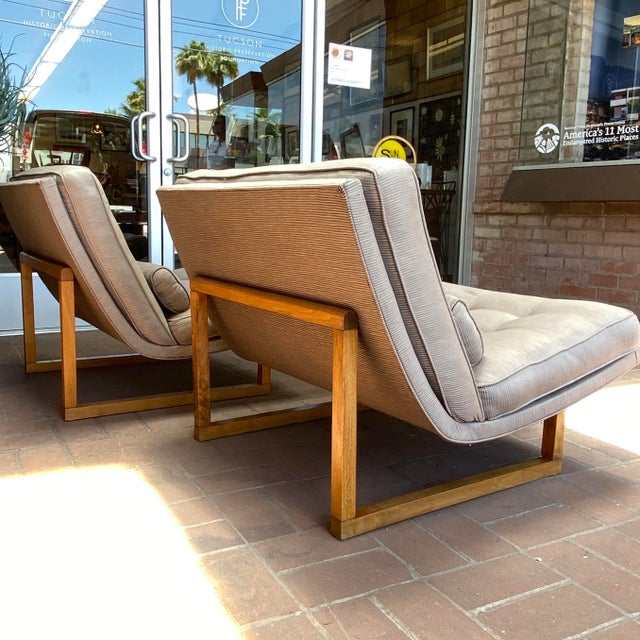 Mid-Century Milo Baughman Style Lounge Chairs - a Pair For Sale - Image 4 of 10