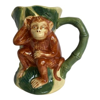 Hand-Painted Vintage Ceramic Monkey Pitcher Vase For Sale