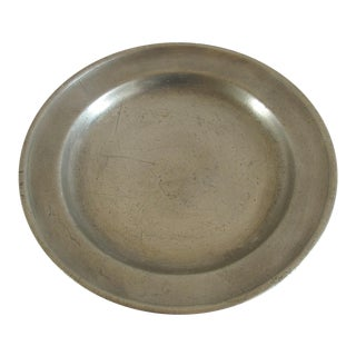 Vintage Rustic Pewter Plate For Sale