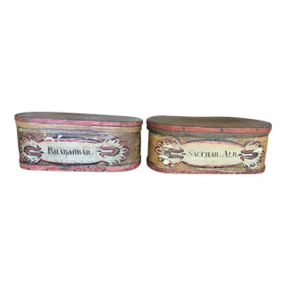 Vintage Hand Painted Apothecary Boxes - a Pair For Sale