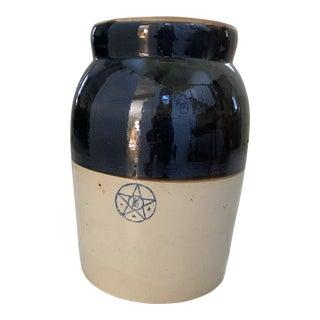 Vintage Stoneware Covered Crock For Sale