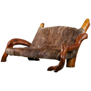 Handcrafted Freeform Live Slab Burl Wood Artisan Hair-On-Hide Sofa, Circa 1970s For Sale