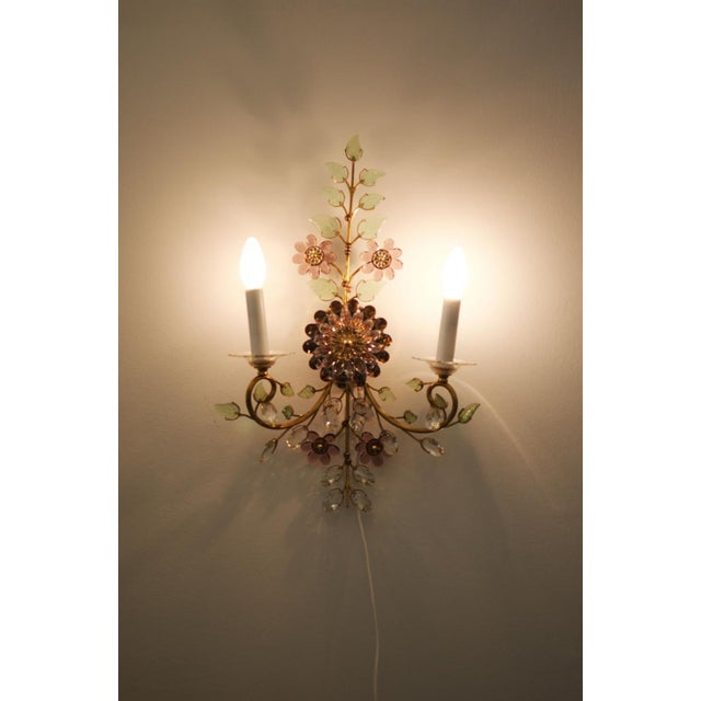 Austrian vintage crystal flowers wall sconce For Sale - Image 4 of 10