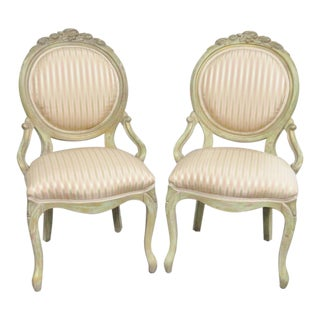 Victorian Style Custom Painted Side Chairs- a Pair For Sale