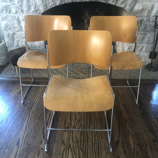 1980s Vintage David Rowland Molded Beech Wood Stackable Chairs -Set of 3 For Sale - Image 13 of 13